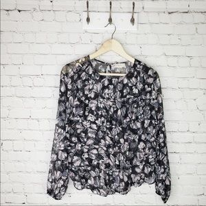 LOFT sheer tiered floral blouse